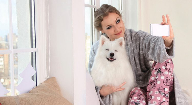 Millenial in pink pajama pants and a grey sweater taking a selfie with a white medium sized furry dog
