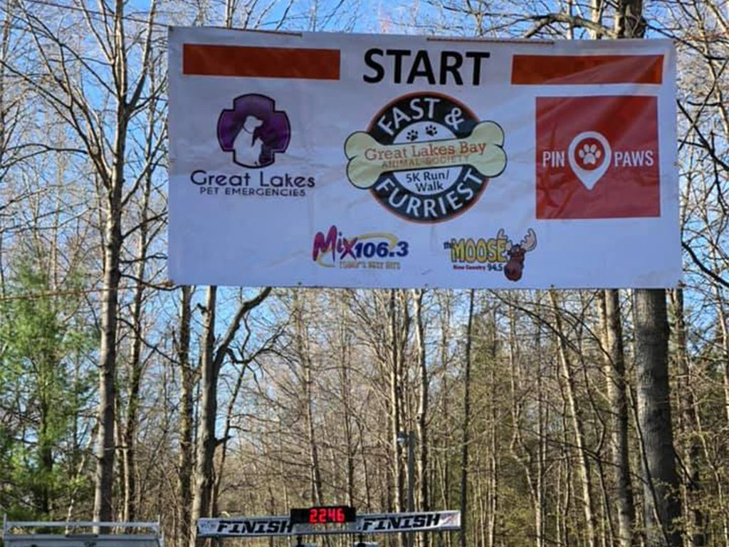 Great Lakes Bay Animal Society Race Starting Line Banner